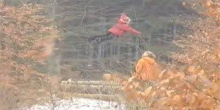 Κορίτσι πετάει πάνω από δάσος