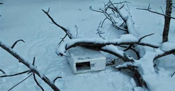 Βρήκε στο χιόνι ένα μικρό λευκό κουτί